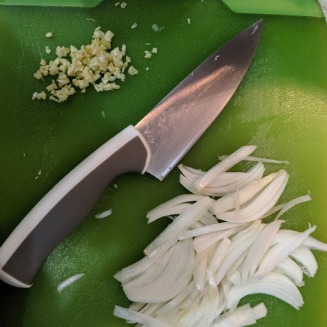 sliced onions and minced garlic prep