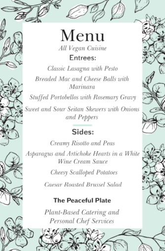 Peaceful Plate Sample Menu